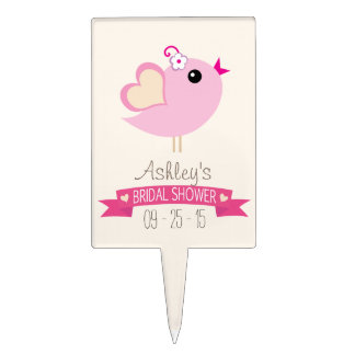Light Pink Love Bird Bridal Shower Cake Toppers