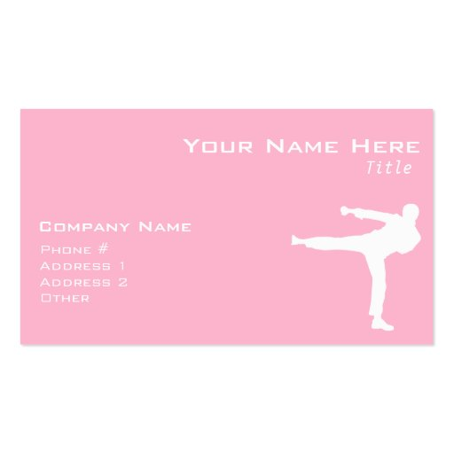 Light Pink Martial Arts Business Card