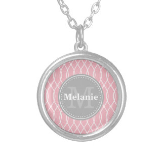 Light Pink Modern Lattice Pattern Grey Monogram Silver Plated Necklace
