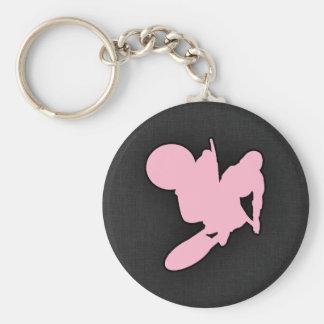 Light Pink Motocross Basic Round Button Key Ring