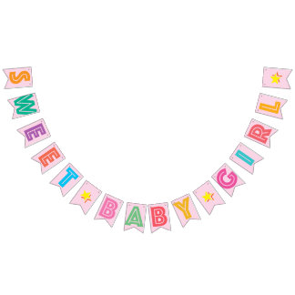 LIGHT PINK MULTICOLORED ☆ SWEET BABY GIRL ☆ SIGN BUNTING