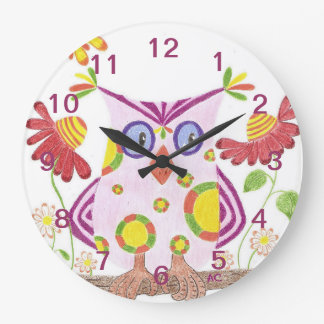 Light pink owl nursery room wall clock