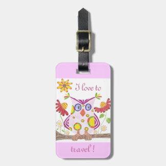 Light pink owl teacher personalized luggage tag