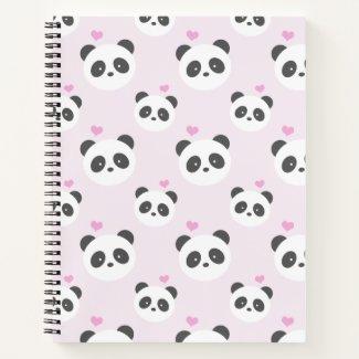 Light pink panda patterned notebook