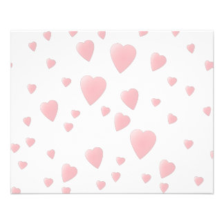 Light Pink Pattern of Love Hearts. 11.5 Cm X 14 Cm Flyer