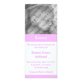 Light Pink Photo Girl's Baby Birth Announcement