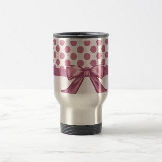 Light Pink Polka Dot Ribbon Bow Stainless Steel Travel Mug