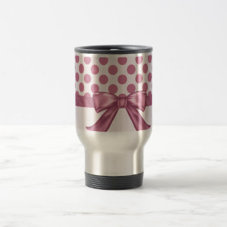 Light Pink Polka Dot Ribbon Bow Travel Mug