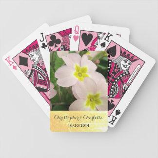 Light Pink Primrose Flowers Custom Wedding Bicycle Playing Cards