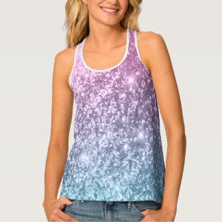 Light Pink, Purple and Blue Glittery Print Tank Top