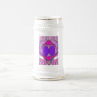 Light pink purple superfly design beer steins