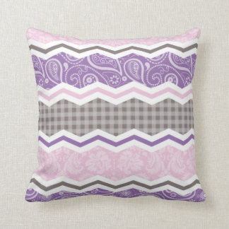 Light Pink, Purple, & Taupe Country Patterns Cushion
