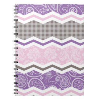 Light Pink, Purple, & Taupe Country Patterns Notebooks