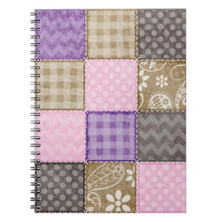 Light Pink, Purple, & Taupe Quilted Look Notebooks
