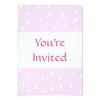 Light pink rain pattern. White and pink. 13 Cm X 18 Cm Invitation Card