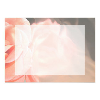 Light pink rose reflection in silver personalized invitations