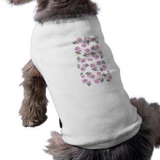 Light pink roses flower pattern on white sleeveless dog shirt