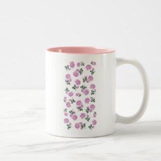 Light pink roses flower pattern on white Two-Tone coffee mug