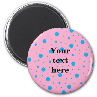 Light pink sky blue tiny and big polka dots 6 cm round magnet