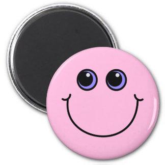 Light Pink Smiley Face 6 Cm Round Magnet