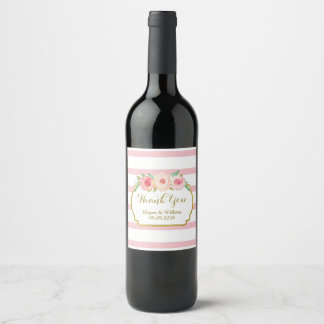 Light Pink Stripes Pink Floral Gold Wine Label
