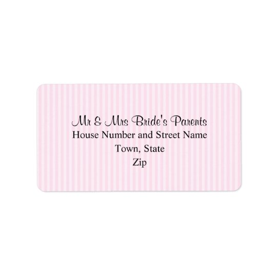 Light Pink Stripes Wedding Address Label