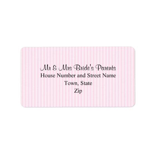 Light Pink Stripes Wedding Label