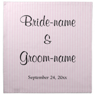 Light Pink Stripes Wedding Napkin