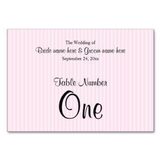 Light Pink Stripes Wedding Table Number Table Cards