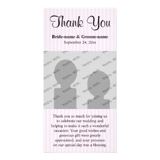 Light Pink Stripes Wedding Thank You Customized Photo Card