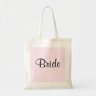 Light Pink Stripes Wedding Tote Bag