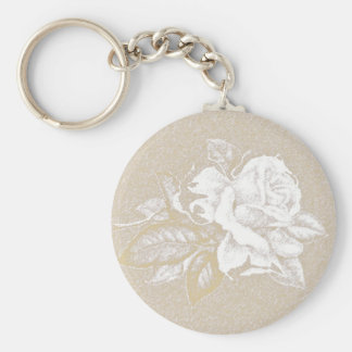 Light pink vintage rose in sepia tones key chains