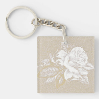Light pink vintage rose in sepia tones acrylic keychain