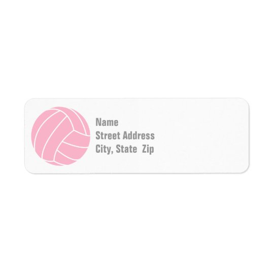 Light Pink Volleyball Return Address Label