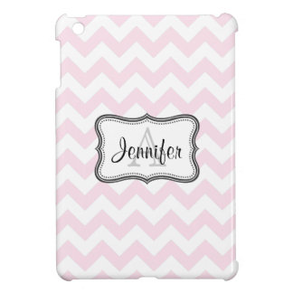 Light Pink & White Chevron monogram iPad mini case