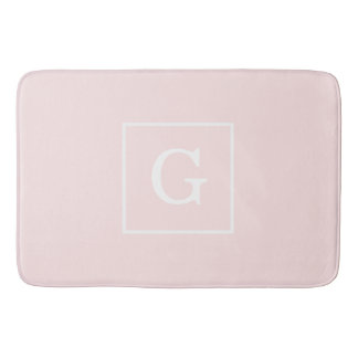 Light Pink White Framed Initial Monogram Bath Mat