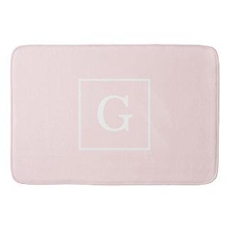 Light Pink White Framed Initial Monogram Bath Mats