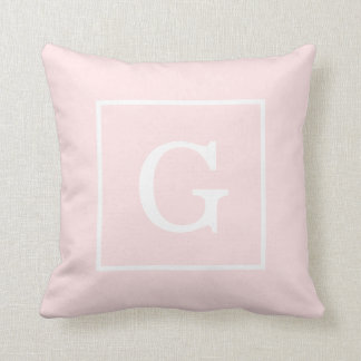 Light Pink White Framed Initial Monogram Cushion