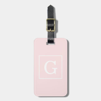 Light Pink White Framed Initial Monogram Luggage Tag