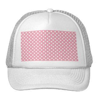 Light pink white polka dots mesh hats
