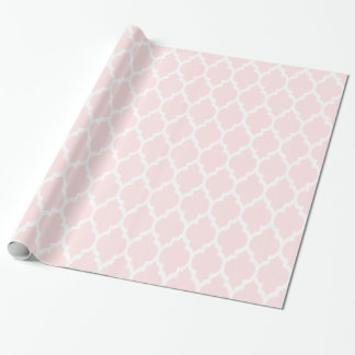 Light Pink White XL Moroccan Quatrefoil #4 Wrapping Paper