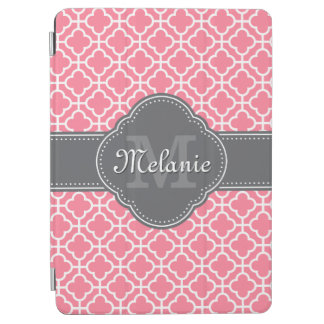Light Pink Wht Moroccan Pattern Dark Gray Monogram iPad Air Cover