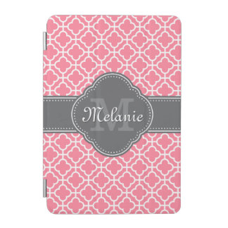 Light Pink Wht Moroccan Pattern Dark Gray Monogram iPad Mini Cover