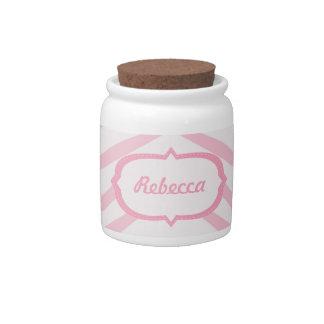 Light Pink Zebra Pattern Candy Jar