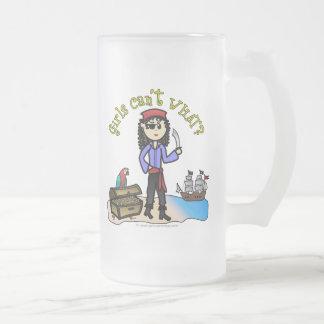 Light Pirate Girl Frosted Glass Mug