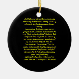 Light plunged into darkness, Poem Christmas Ornament