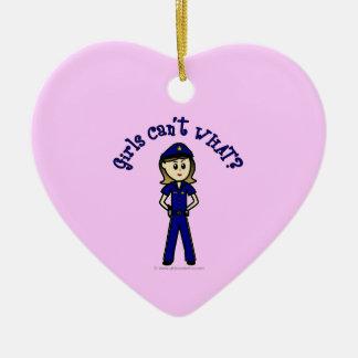 Light Police Officer Girl Ceramic Heart Decoration
