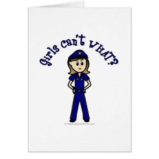 Light Police Officer Girl Greeting Card