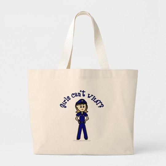 Light Police Officer Girl Large Tote Bag