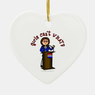 Light Politician Double-Sided Heart Ceramic Christmas Ornament